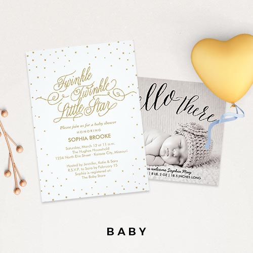 Baby Shower Invitations + Birth Announcements