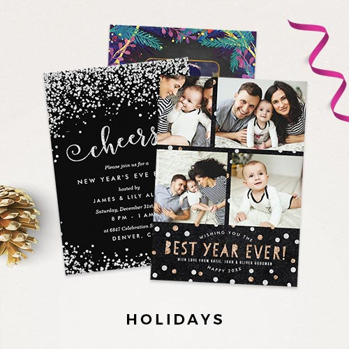 Holiday Photo Cards + Holiday Party Invitations