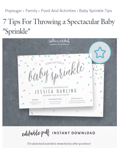 baby sprinkle invitation - pop sugar
