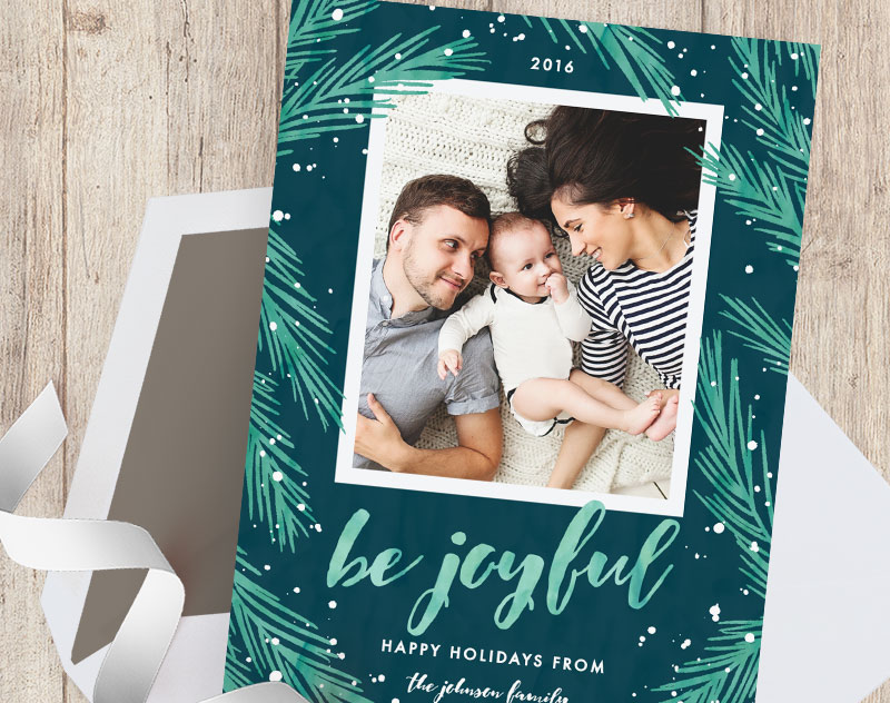 Joyful Pines Green and Blue Holiday Photo Cards