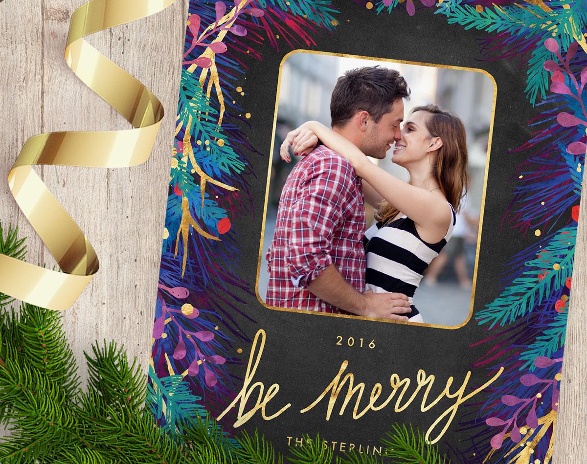 Merry Botanicals Photo Christmas Cards