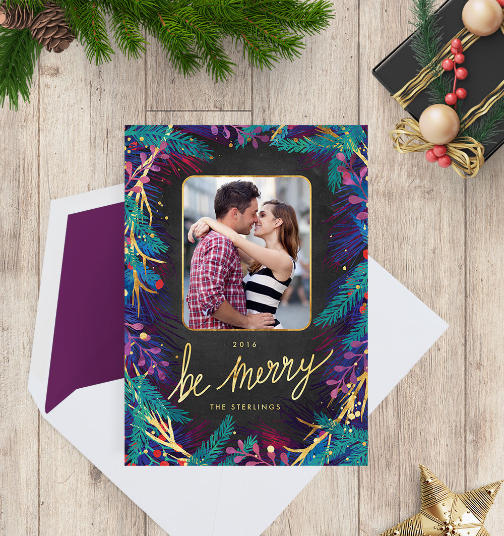 Merry Botanicals Photo Christmas Cards - shown with purple envelope liner