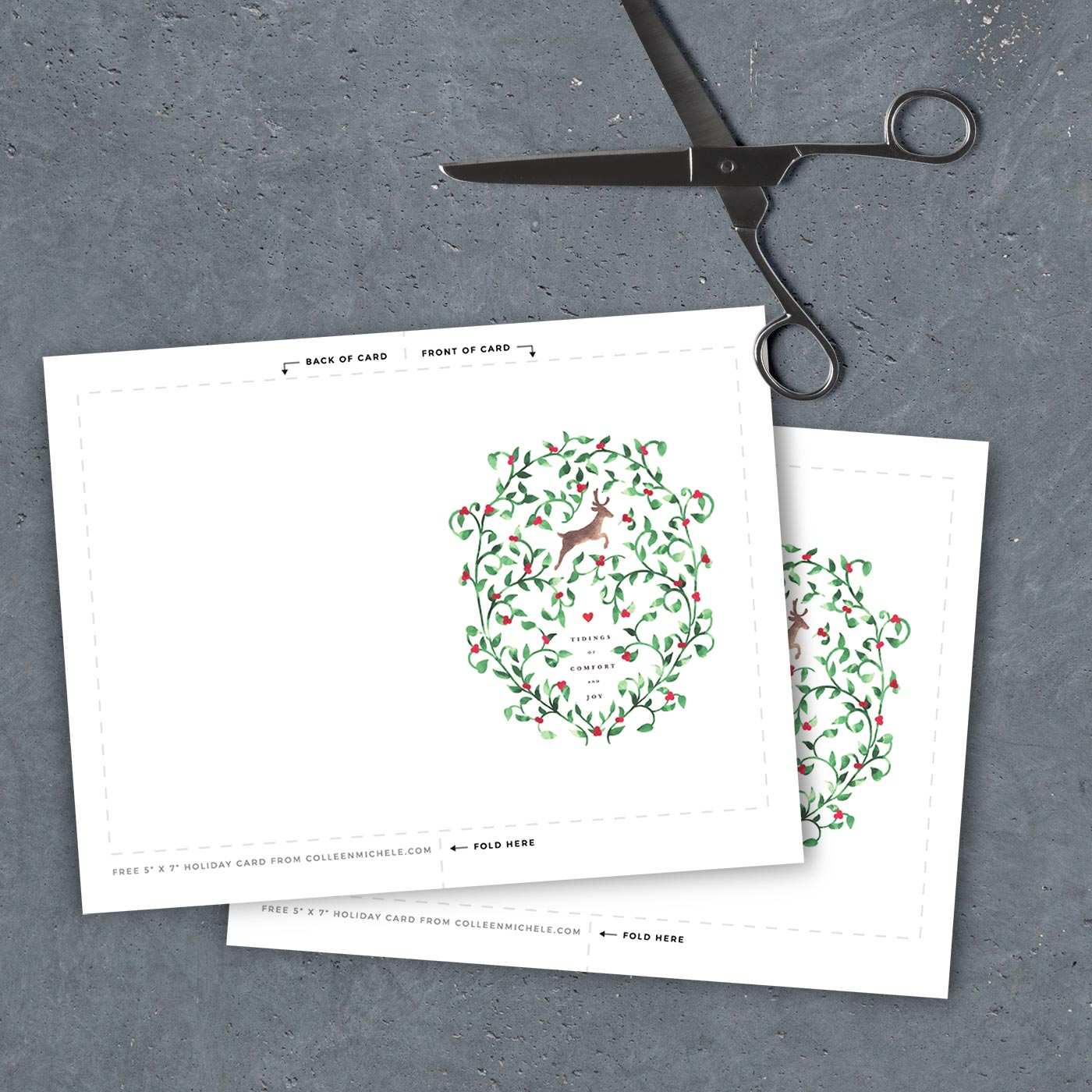 free printable christmas card 5 x 7 template