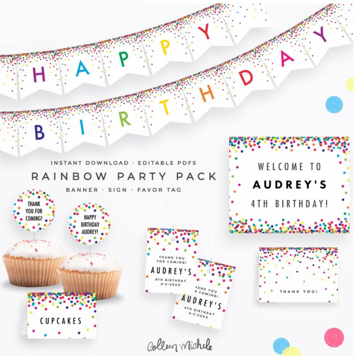 rainbow confetti party pack with banner, cupcake toppers and signs