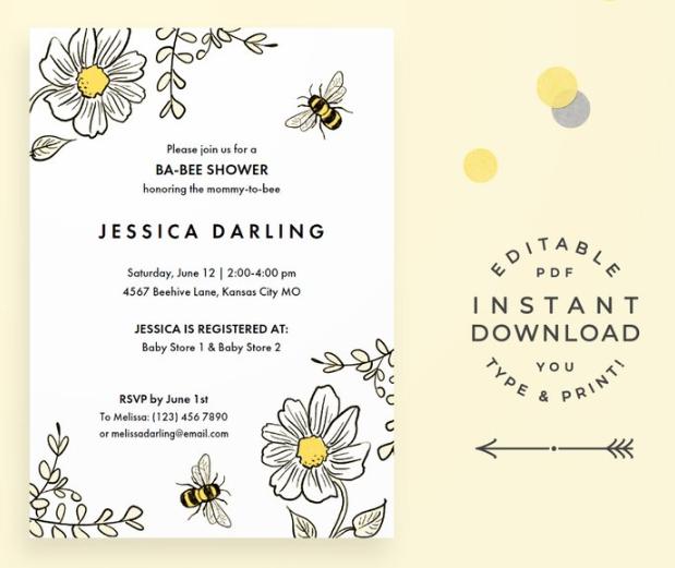sweet bee theme invitation