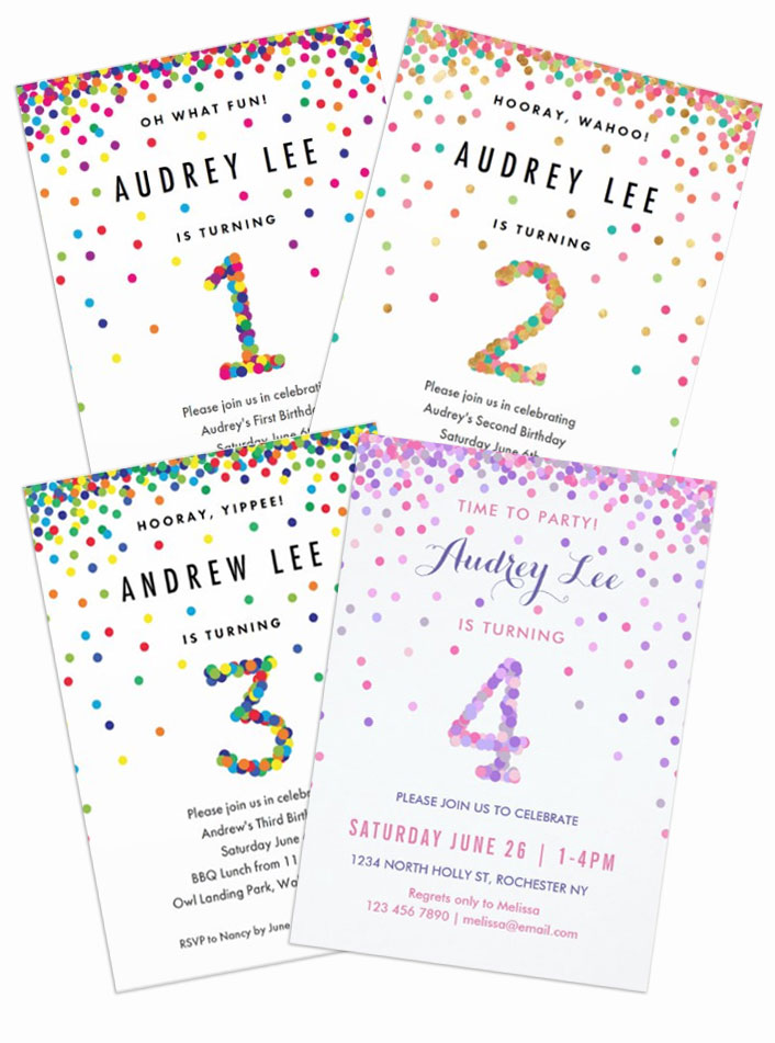 confetti birthday party invitations