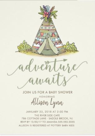 Tee Pee Adventure awaits baby shower invitations