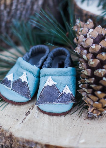 Cute moccasins for baby shower theme