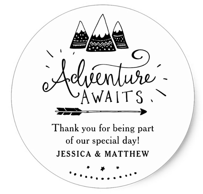 thank you stickers for adventure awaits baby shower theme
