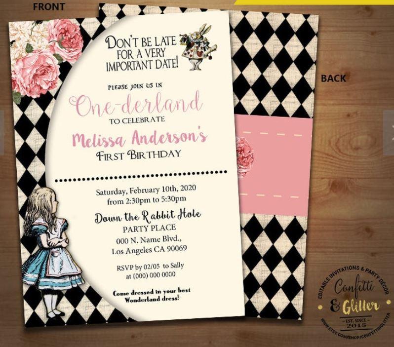 Vintage Alice in One-derland birthday invitation