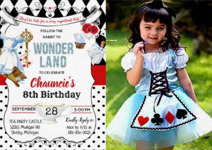 Alice in wonderland photo invitation
