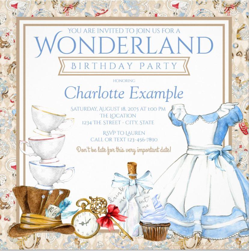 Sweet Alice in Wonderland Birthday invitation