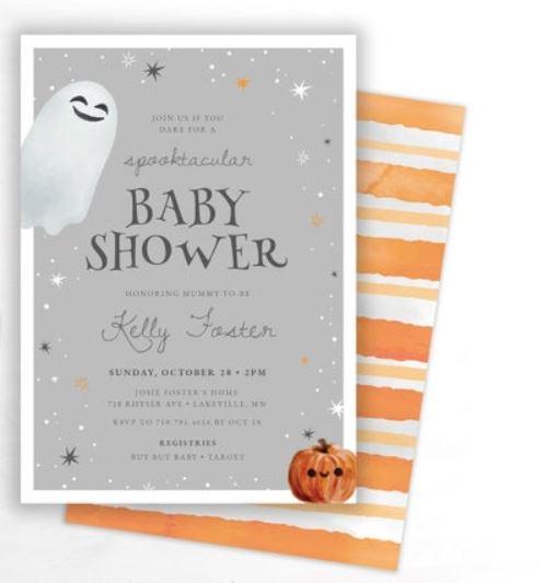 cute ghost halloween theme baby shower invitation
