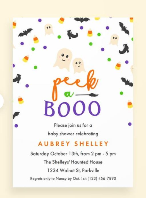 peek a booo Halloween theme baby shower invitations
