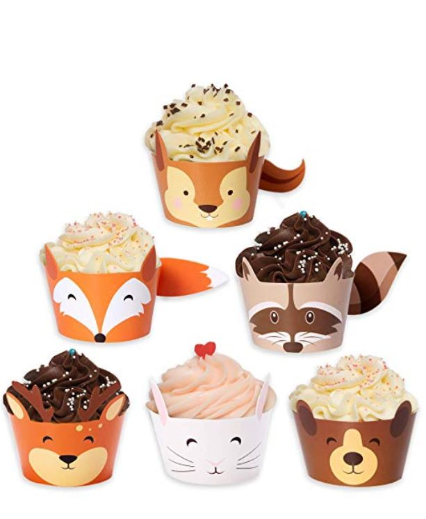 cupcake holders with forest animal theme