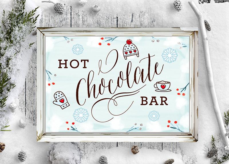 free hot chocolate bar sign