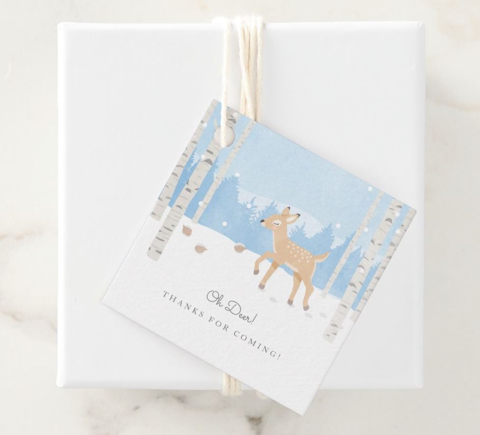 oh deer - baby shower thank you tags in power blue