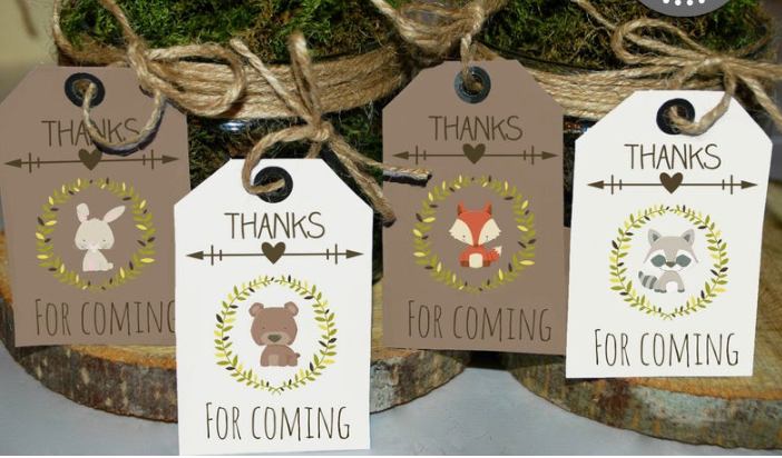 thanks for coming - woodland animal thank you tags