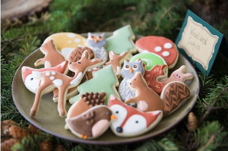 woodland baby shower cookies