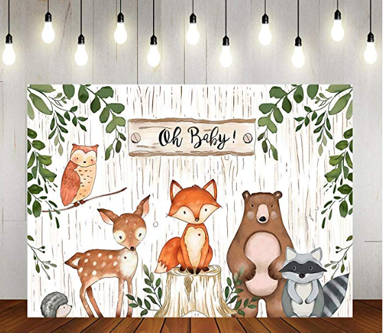 oh baby woodland theme backdrop