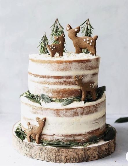 oh deer naked cake for baby shower