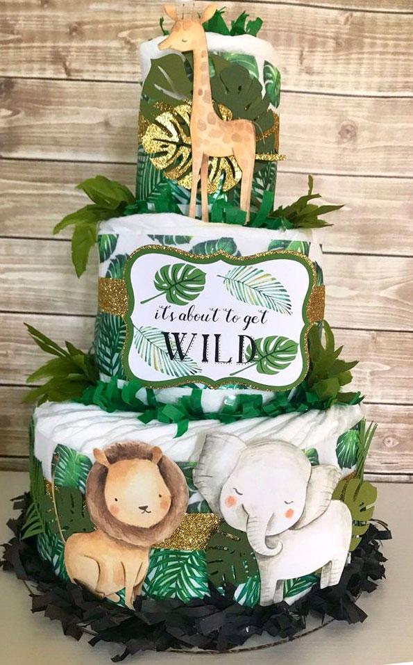 wild one baby shower diaper cake
