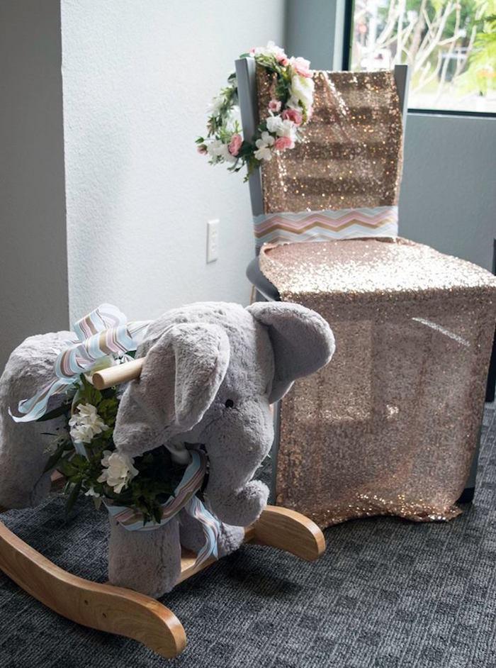 boho safari theme shower - baby elephant rocking chair