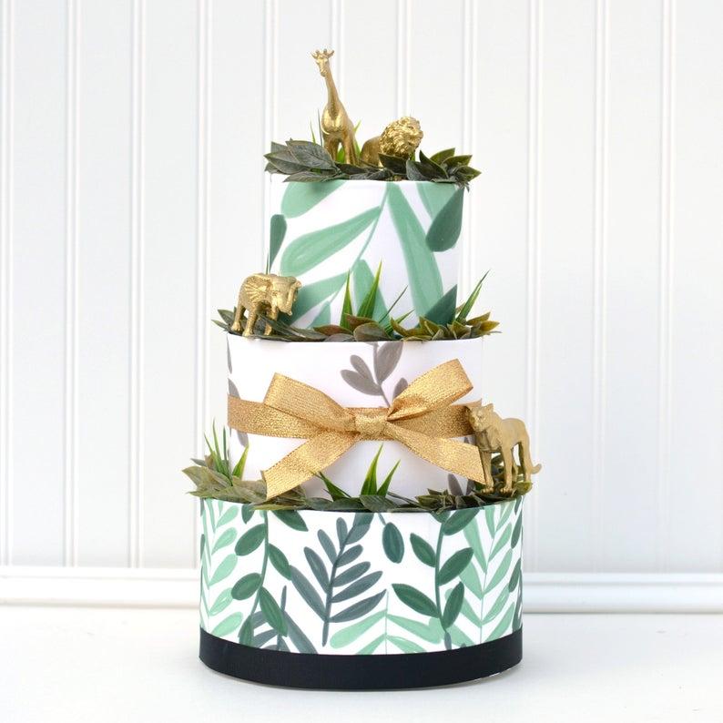 golden safari diaper cake for baby shower