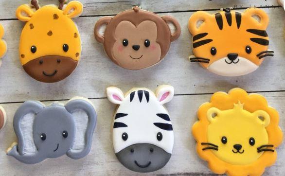 baby shower animal theme cookies
