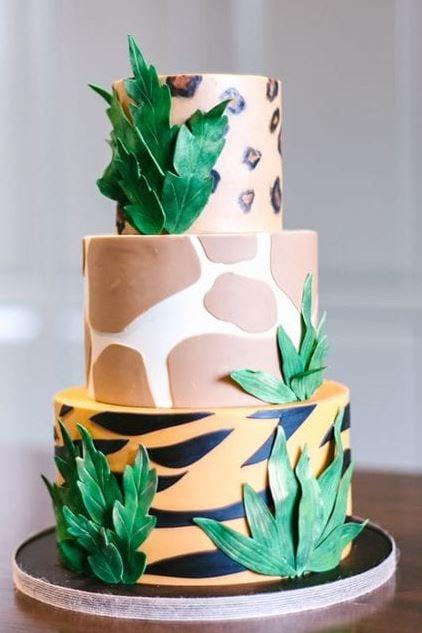 safari theme 3 tier cake