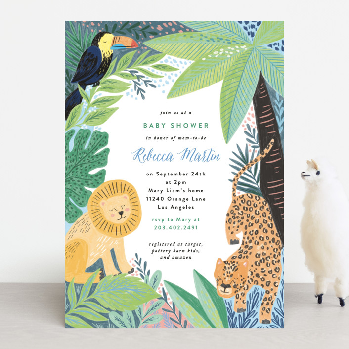 Baby shower jungle theme invitation from minted