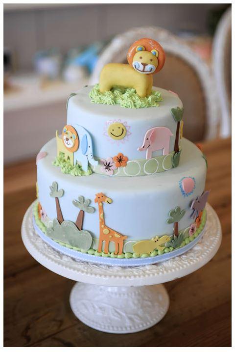 cute jungle theme baby shower cake