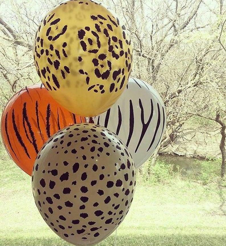jungle theme animal print balloons
