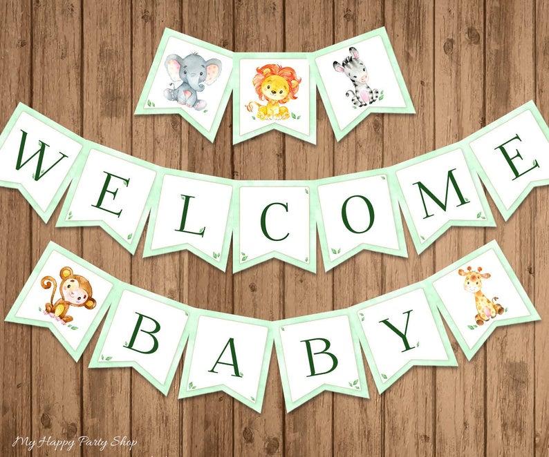 welcome baby - safari theme baby shower sign