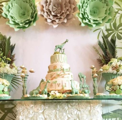 golden safari baby shower cake and decorations