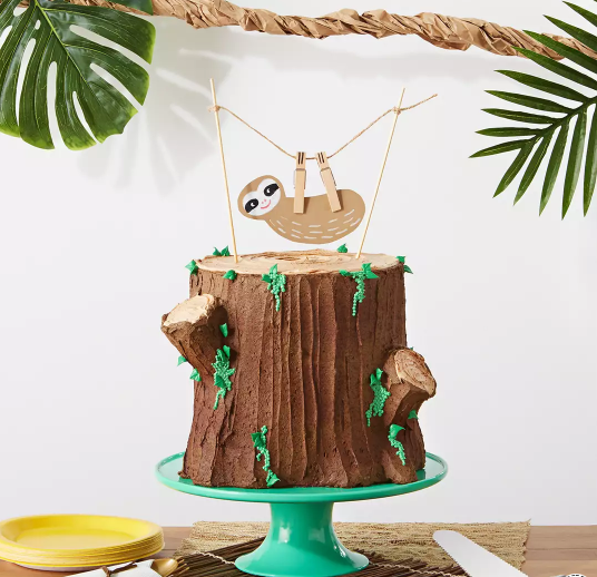 sloth theme birthday cake