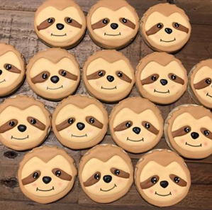 sloth theme birthday cookies