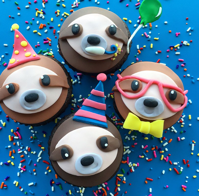 sloth birthday cupcakes