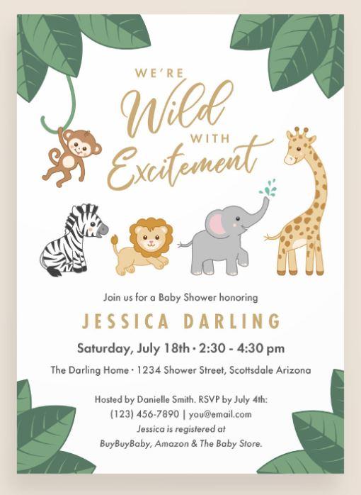 Wild with excitement baby shower invitation