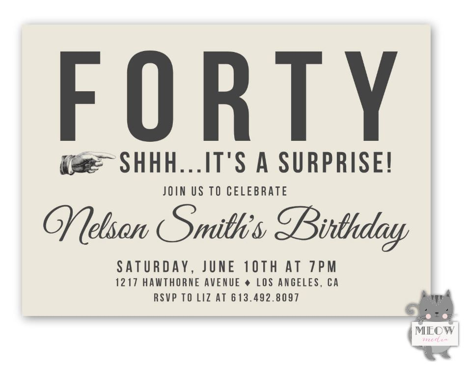Forty Surprise Party Invitation