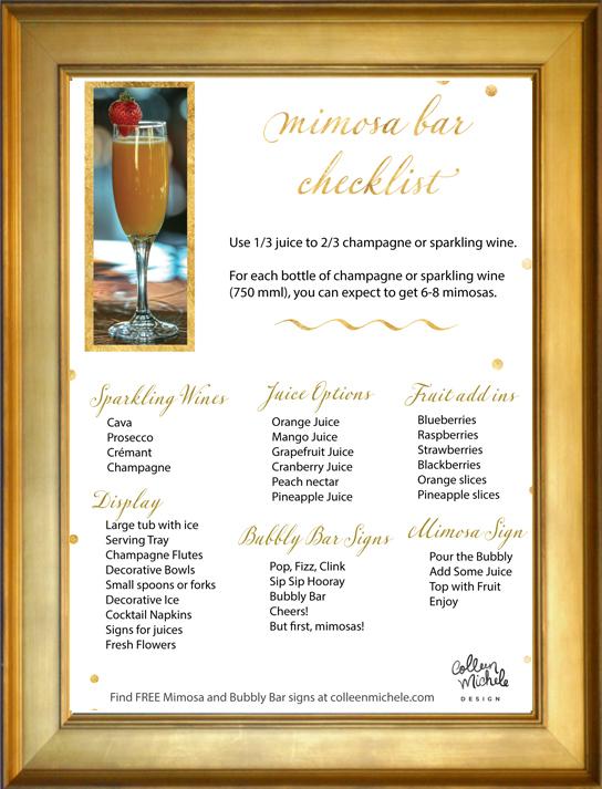 free mimosa bar checklist