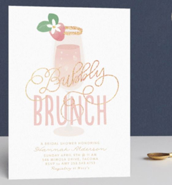 brunch and bubbly with gold foil