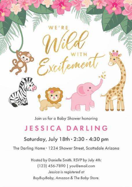 girl safari jungle baby shower invitation