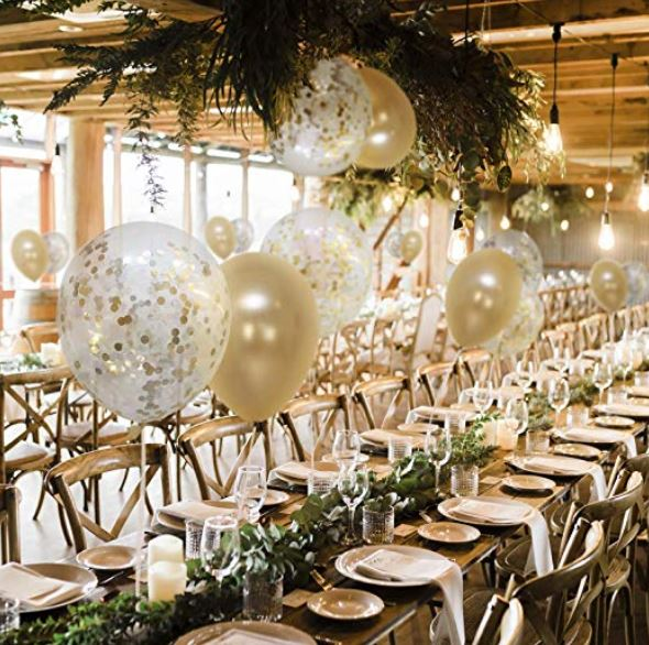gold confetti balloons brunch