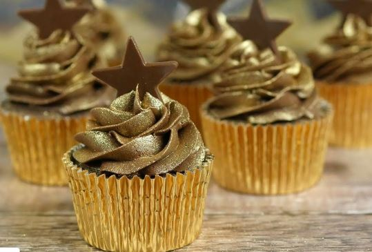 gold glitter cupcakes for surprise party