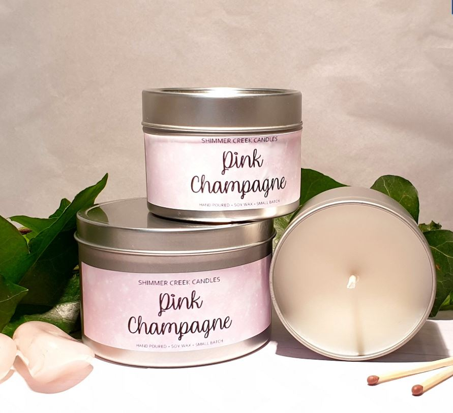 pink champagne scented candles