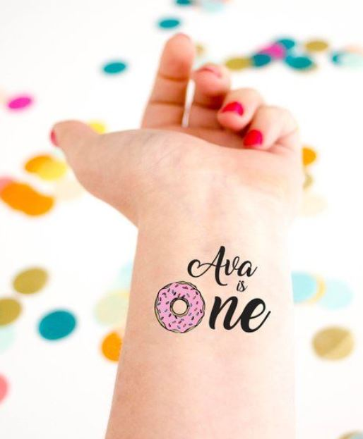 donut birthday party temporary tattoos
