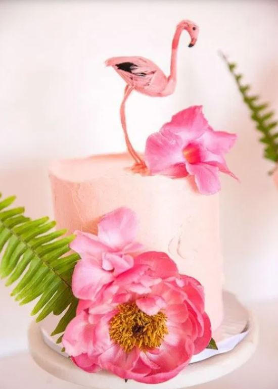 tropical bridal shower blush cake with flamingo