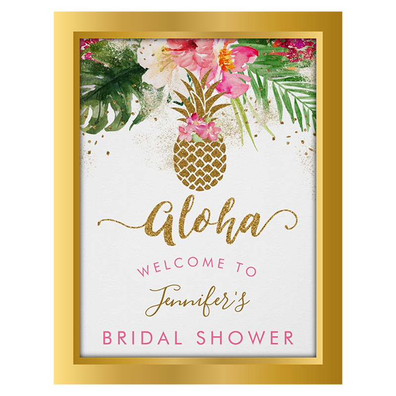 aloha bridal shower welcome poster