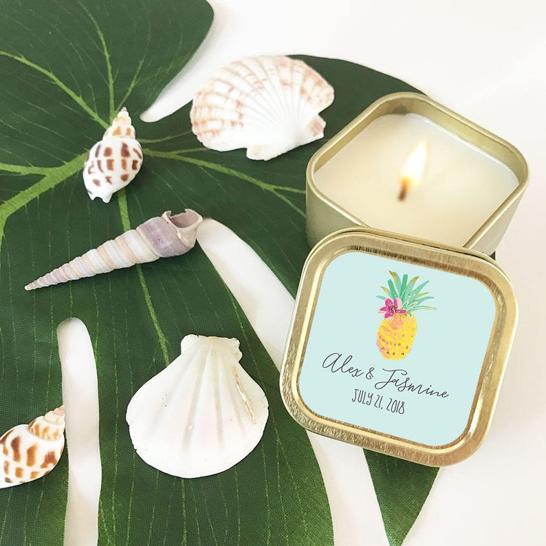 pineapple votive bridal shower favor